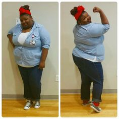 Rosie Riveter DIY Plus Size Costume Miz Cook's Top 5 DIY Halloween Costumes, Curvy Style-Curvy Ventures Ft Lauderdale